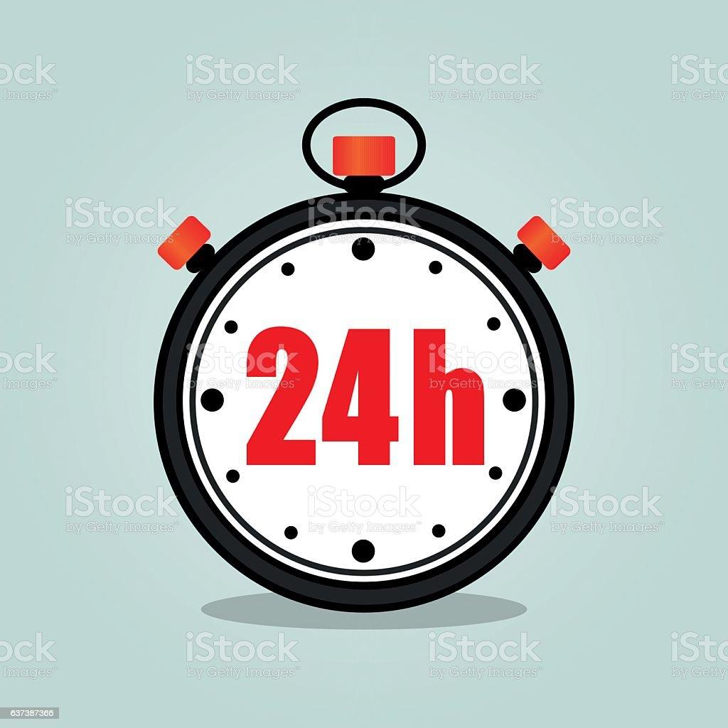 twenty four hours stopwatch vector art illustration