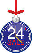 Vector illustration of a Twenty Four Hr clock christmas ornament.