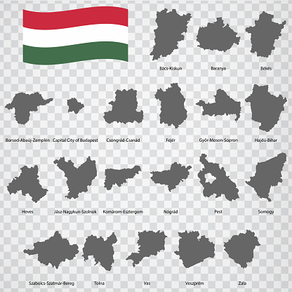 """Twenty Maps Regions of Hungary - alphabetical order with name. Every single map of Province are listed and isolated with wordings and titles. Hungary. EPS 10.""""n"""