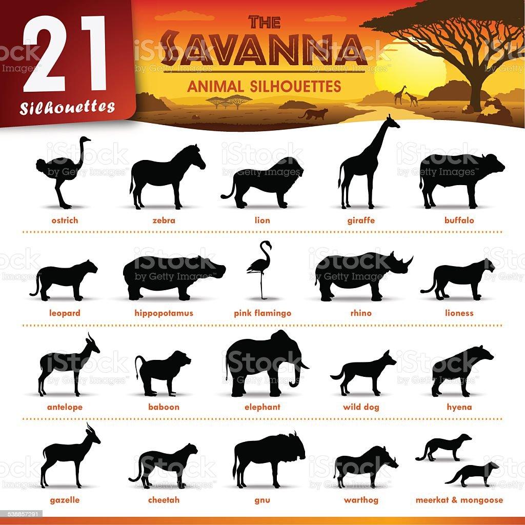 Twenty one Savanna animal silhouettes vector art illustration