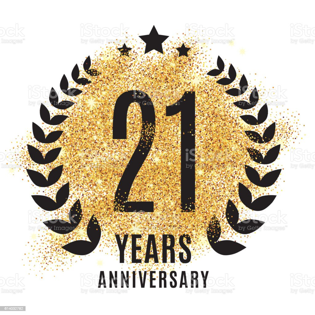 twenty one years golden anniversary vector art illustration