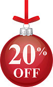 Twenty Percent Off Red Christmas Ornament