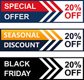 Twenty percent special offer black Friday web banner collection.