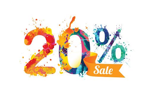 20 (twenty) percents sale. Watercolor vector splash paint