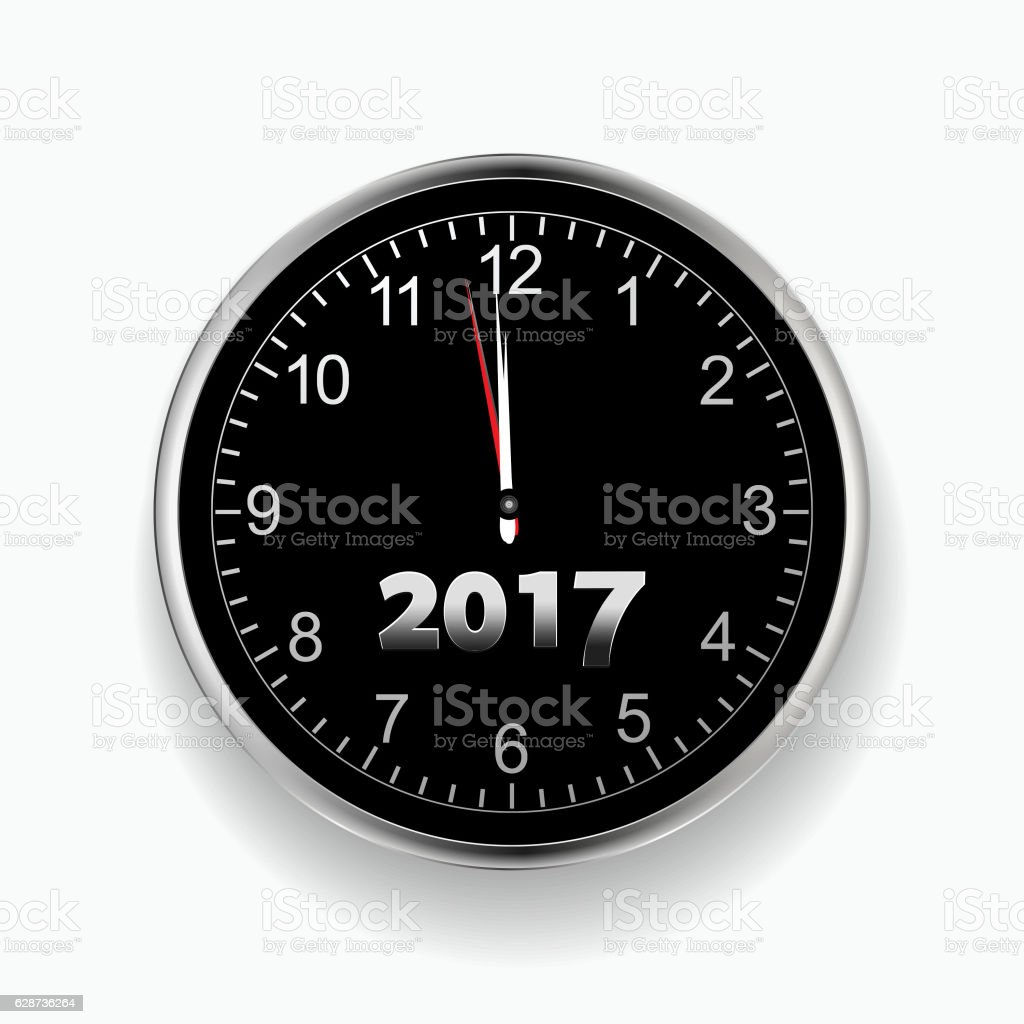 Twenty Seventeen nearly midnight black and silver clock vector art illustration