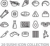 twenty sushi icon collection