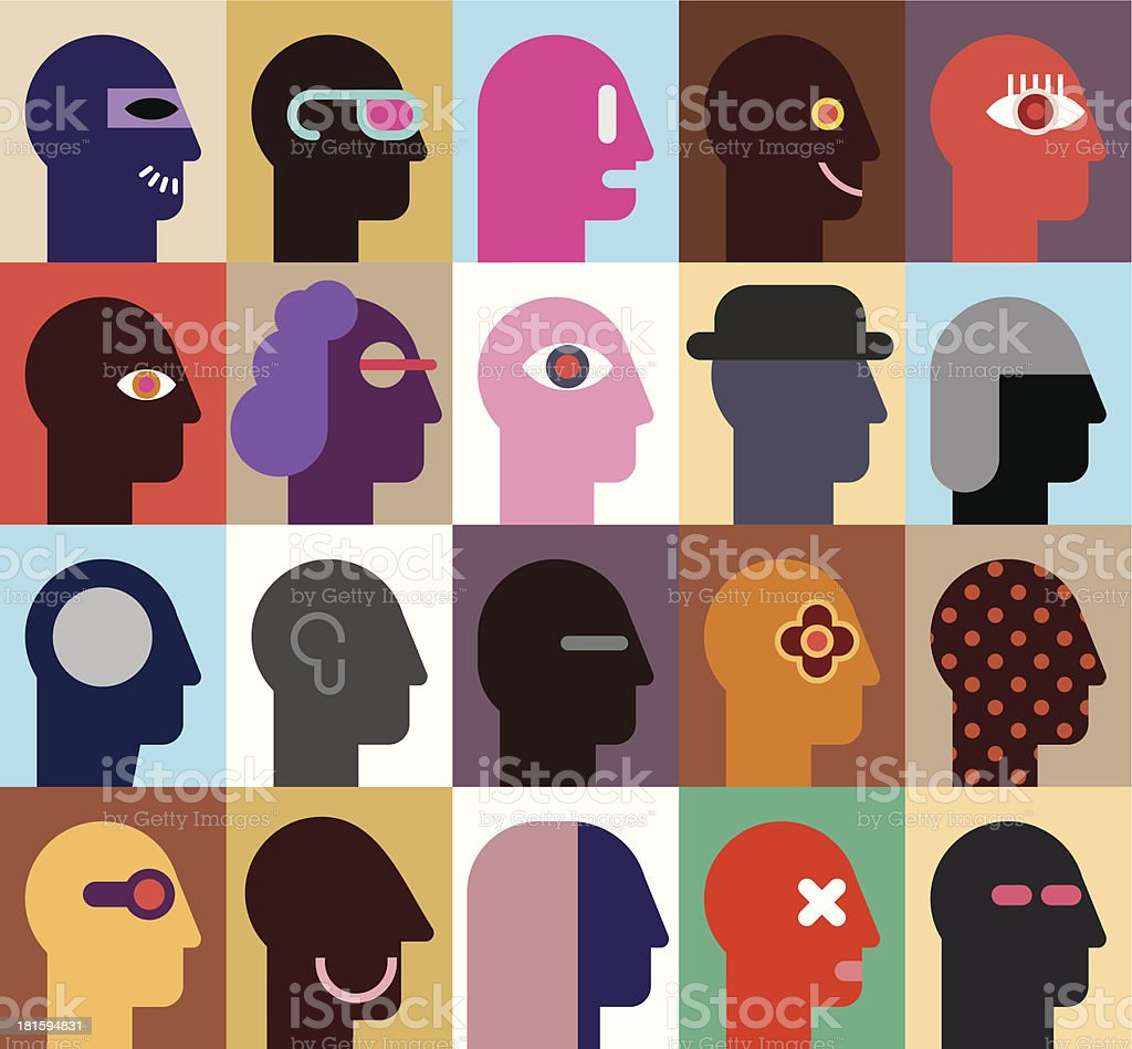 Twenty vector graphics of human heads in various designs vector art illustration