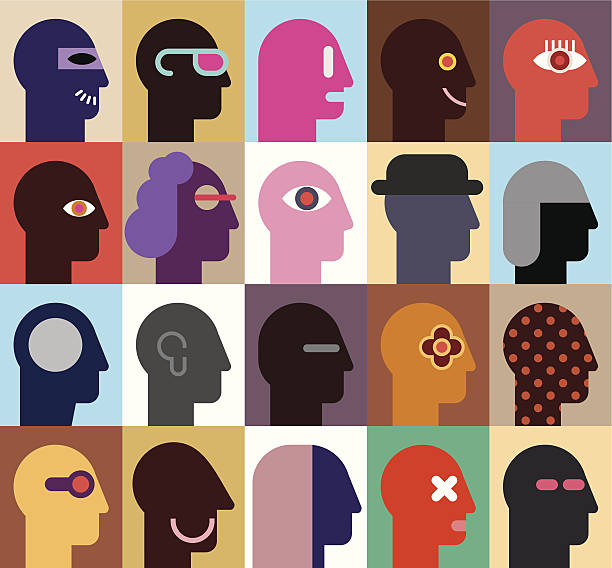 Twenty vector graphics of human heads in various designs Human Heads - abstract vector illustration. Can be used as seamless wallpaper. name of person stock illustrations