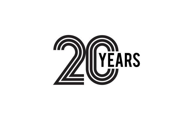 Twenty Year anniversary design vector art illustration