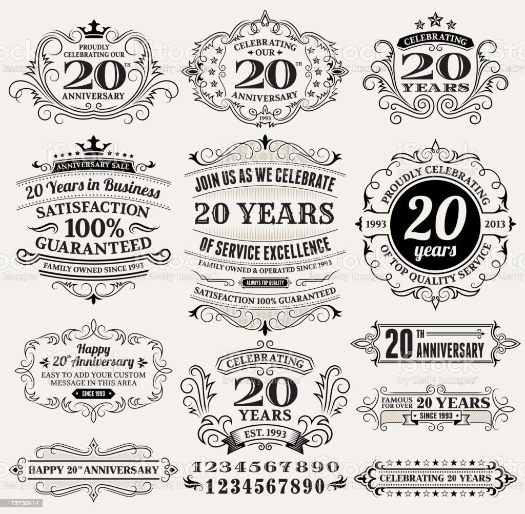 20 Jahre Jubiläum von hand gezeichnet lizenzfreie vektor Hintergrund auf Papier – Vektorgrafik