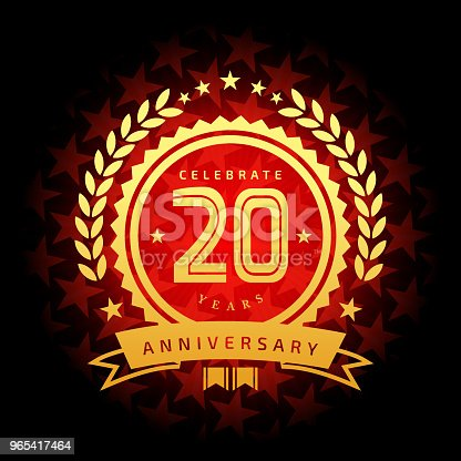 Vector of 20 years anniversary icon with red color star shape background