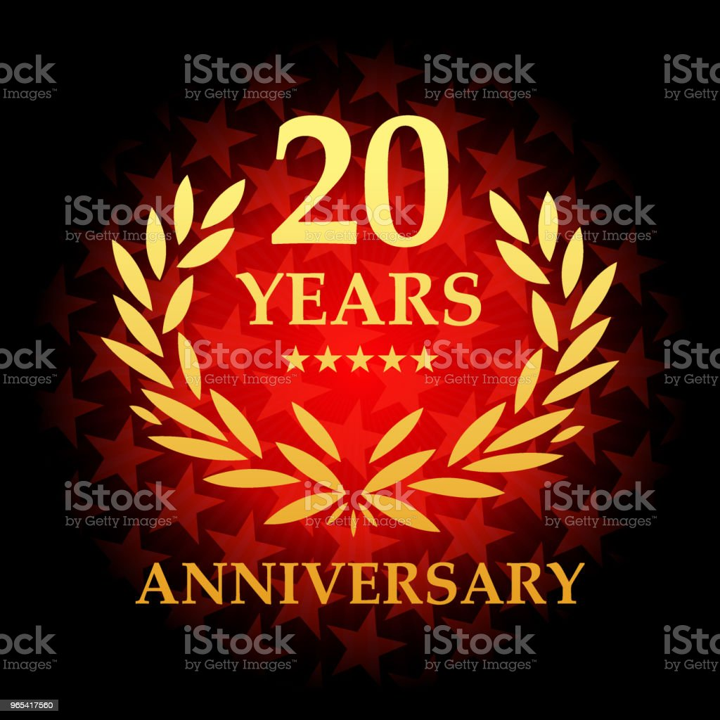 Twenty year anniversary icon with red color star shape background royalty-free twenty year anniversary icon with red color star shape background stock vector art & more images of 20th anniversary