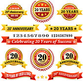 twenty year anniversary royalty free vector background with golden badges. This image depicts a white background with multiple twenty year anniversary announcement designs. The background serves a perfect backdrop for making the twenty year anniversary announcements look authentic and elegant. The award badges are unique and intricate in design and are ideal for your twenty year anniversary design announcements. The red and gold color makes these badges a perfect award design element.