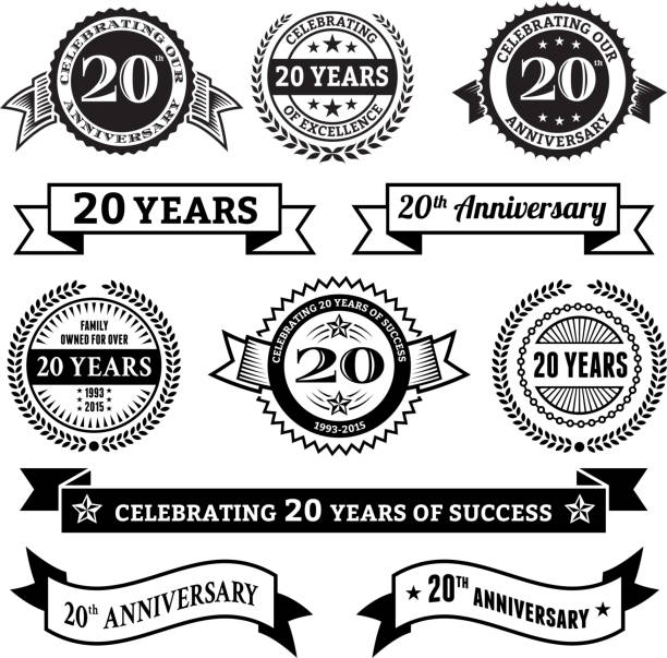 twenty year anniversary vector badge set royalty free vector background twenty year anniversary vector badge set royalty free vector background. This image depicts multiple anniversary announcement designs on simple white background. The anniversary announcements look authentic and elegant. There are several designs of bages and insignia elements as well as banner ribbons. The designs are black. 20 24 years stock illustrations
