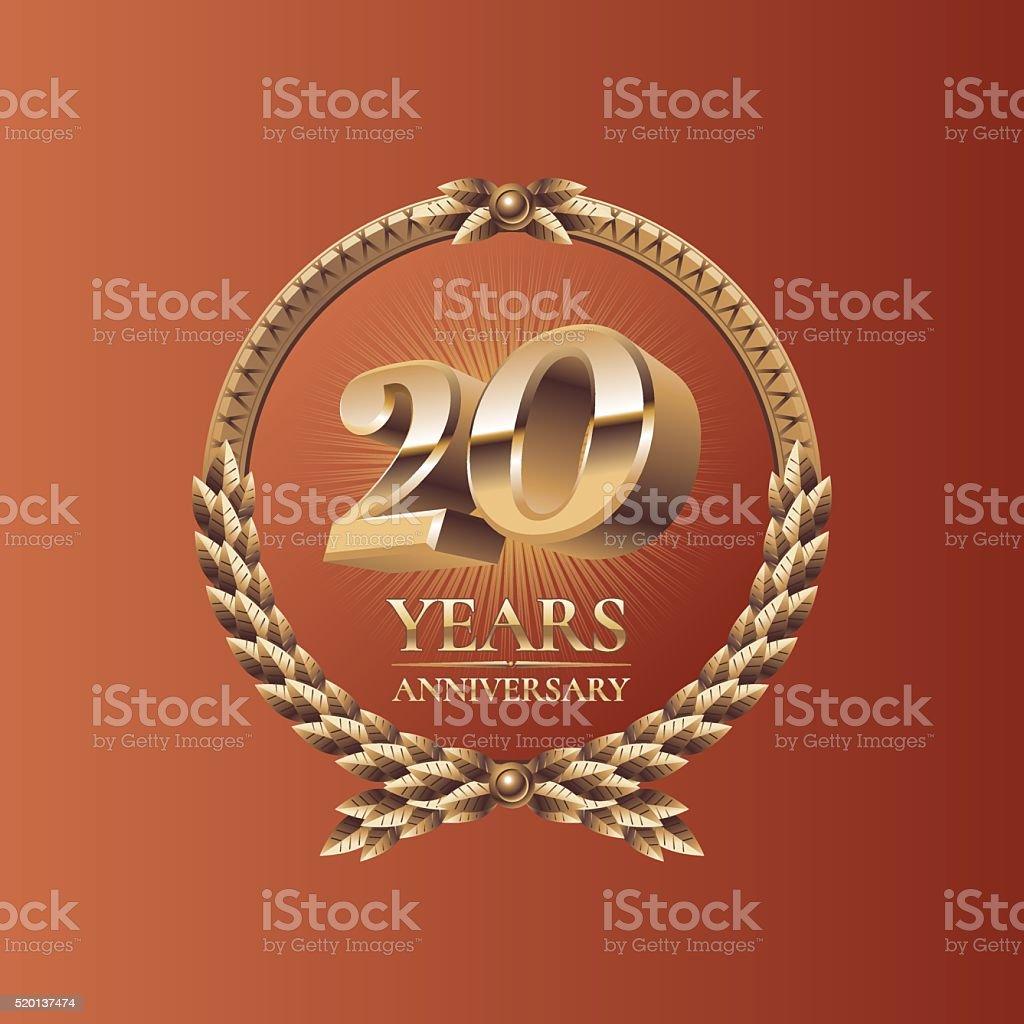 Twenty years anniversary celebration design vector art illustration
