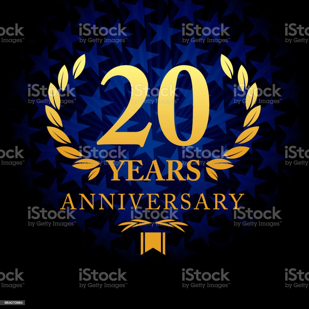 Twenty years anniversary icon with blue color star shape background - Royalty-free 20th Anniversary stock vector