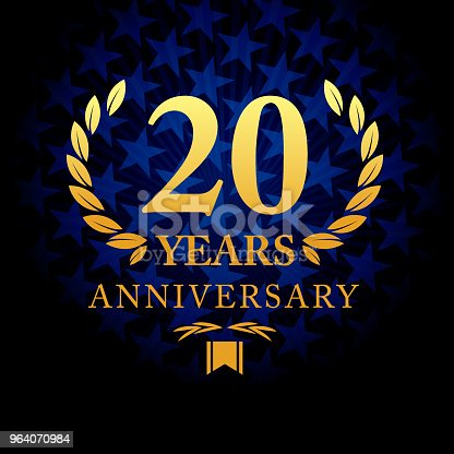 Vector of twenty years anniversary icon with blue color star shape background