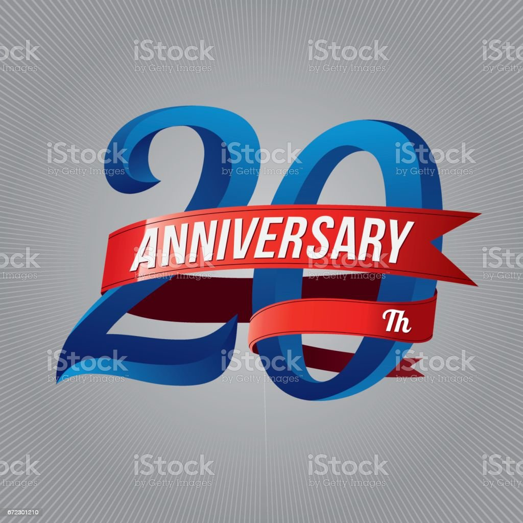 twenty years anniversary icon with red ribbon, 20th years celebration vector art illustration
