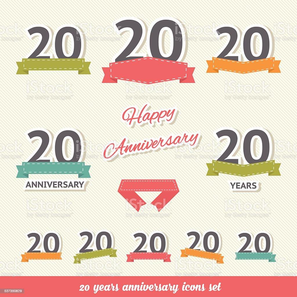 Twenty years anniversary icons collection vector art illustration