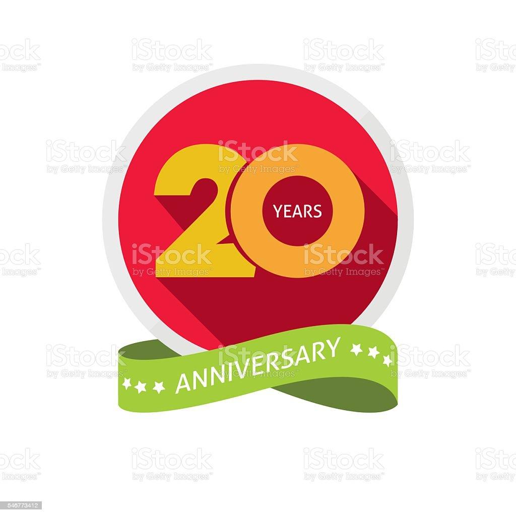 Twenty years anniversary logo, 20 year birthday sticker label – Vektorgrafik