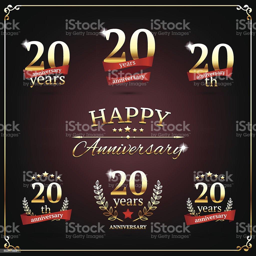Twenty years anniversary signs collection vector art illustration
