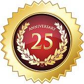 Twenty-fifth anniversary golden star shield.