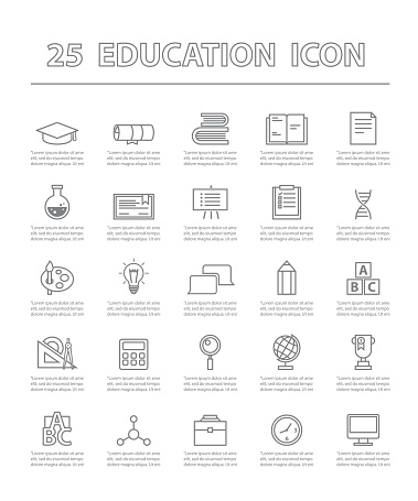 twenty-five thin line simple icons for use in education vector.