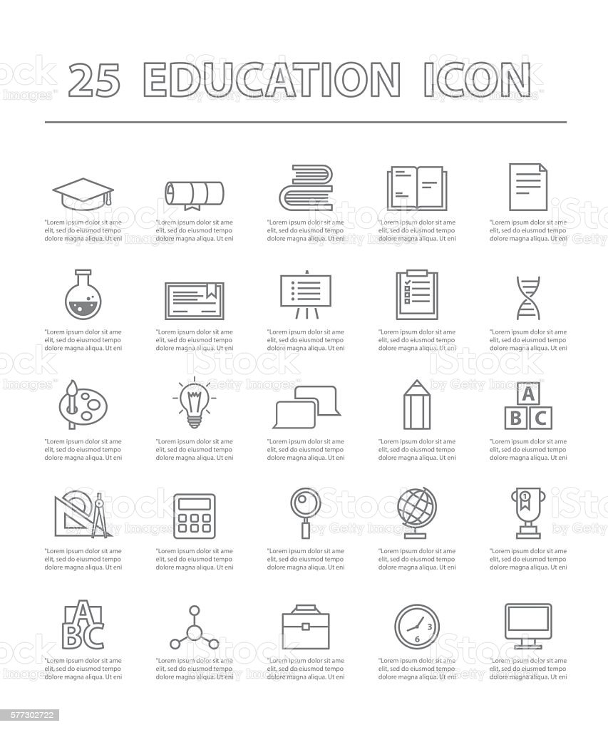 twenty-five thin line simple icons for use in education vector. ベクターアートイラスト