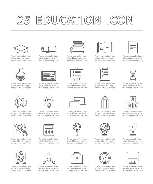twenty-five thin line simple icons for use in education vector. 25 thin line simple and beautiful icons for use in education vector. Education and Icon Concept. reference book stock illustrations