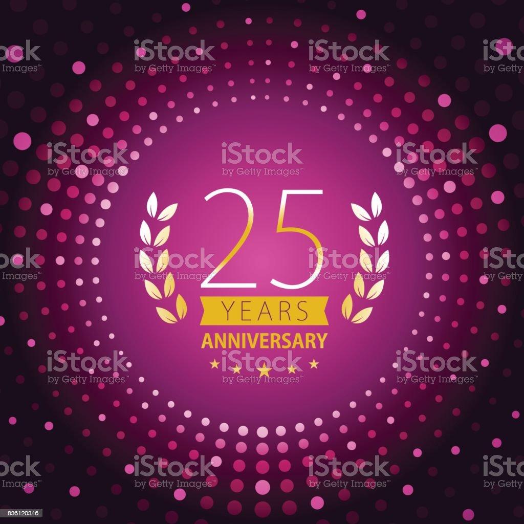 Twenty-five years anniversary icon with purple color background - illustrazione arte vettoriale