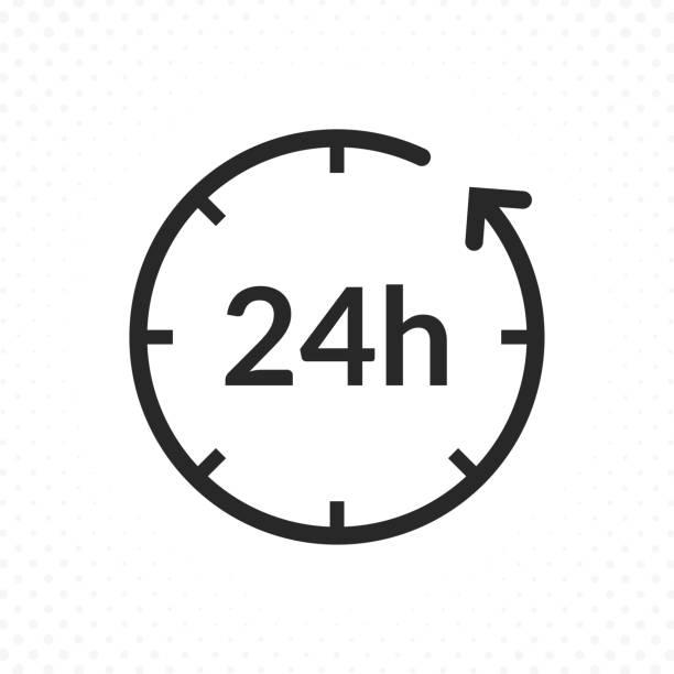 ilustrações, clipart, desenhos animados e ícones de ícone de vinte e quatro horas - dia do cliente