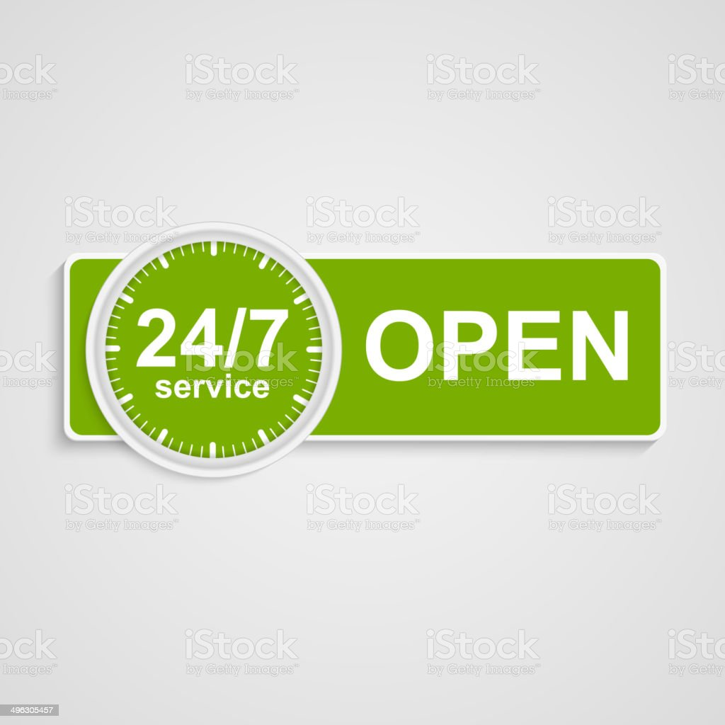 Twenty-four hours seven days customer service icon. royalty-free stock vector art