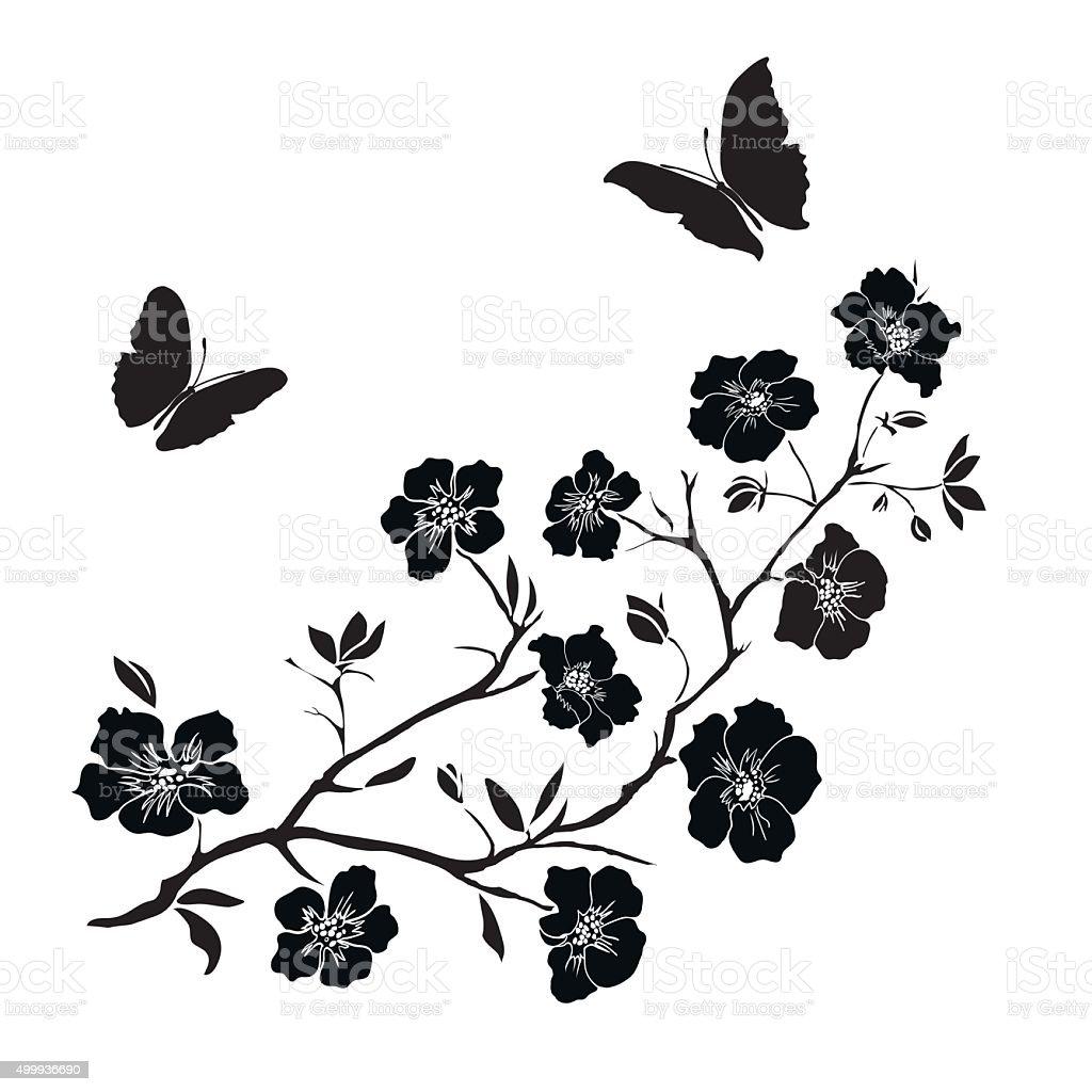 Zweig Kirschblüten Und Schmetterlinge Stock Vektor Art und mehr ...