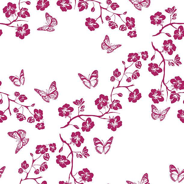 ilustrações de stock, clip art, desenhos animados e ícones de galho de cereja flores e borboleta. sem costuras - cherry blossoms