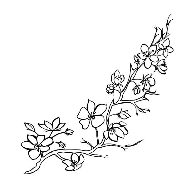 how to draw a tree with flowers pushed by wind
