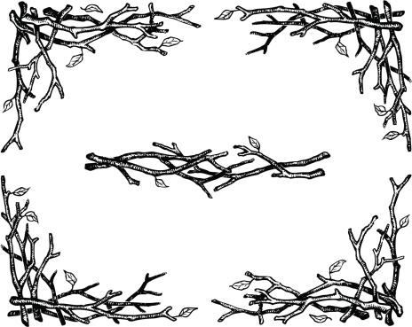 Hand drawn ornamental twigs borders and corners.