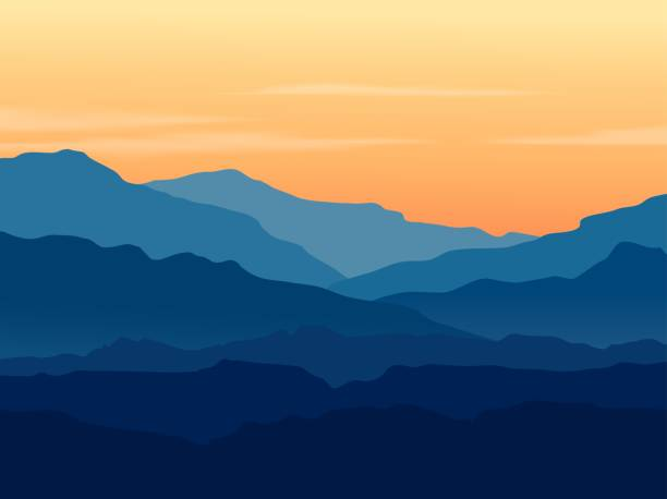 twilight in blue mountains - abstract silhouettes stock illustrations
