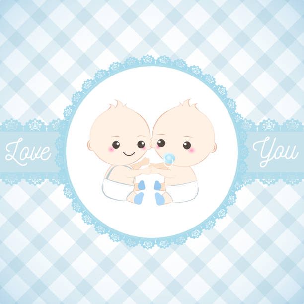 Twin babies boy and lace frame, Baby shower card. Greeting card Twin babies boy and lace frame, Baby shower card. Greeting card illustration baby shower stock illustrations
