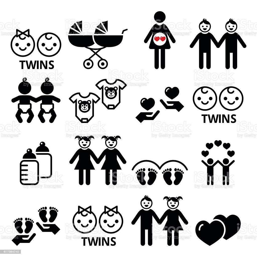 Twin babies icons set - double pram, twins vector art illustration