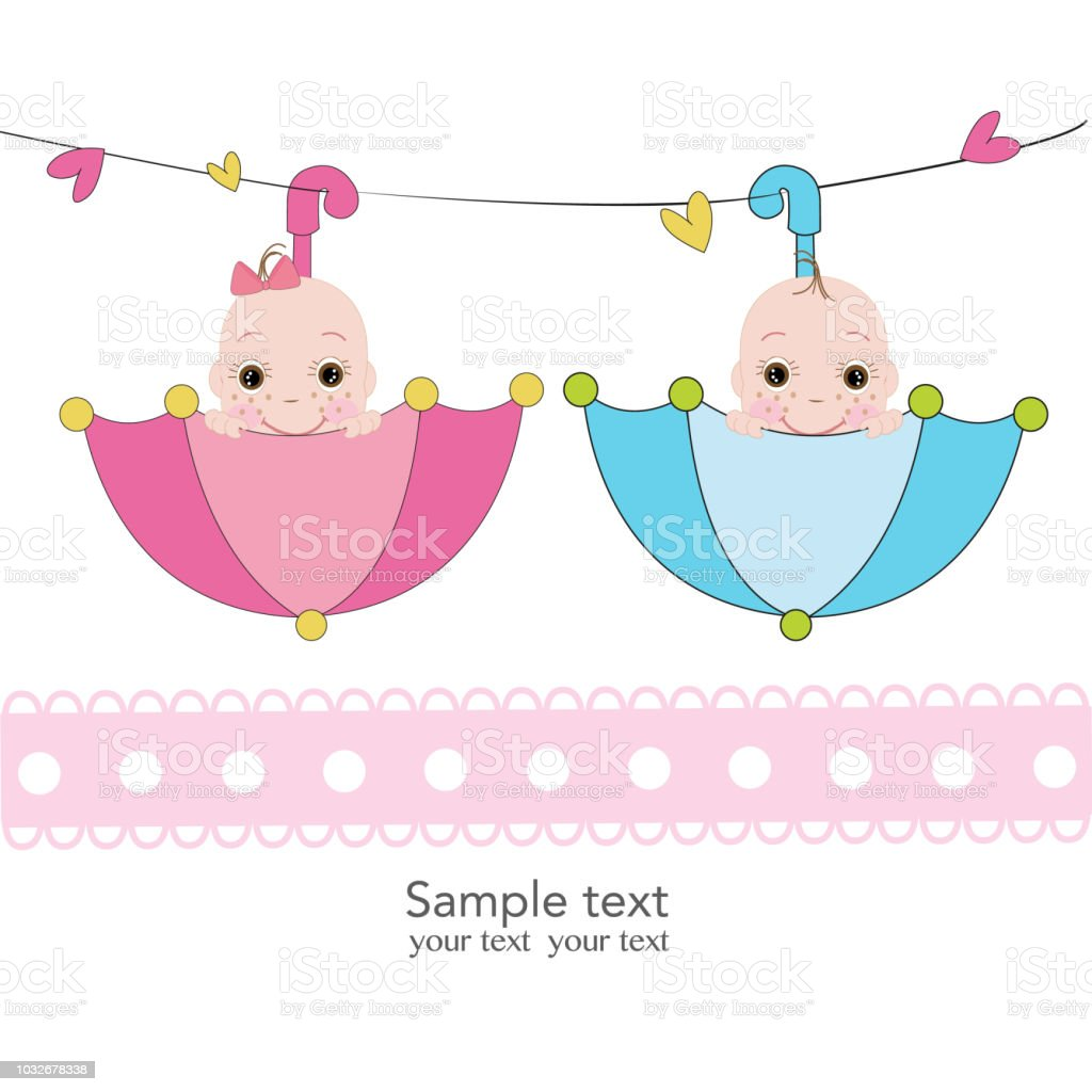 Twin Baby Boy And Girl With Umbrella Greeting Card Stock Vector Art