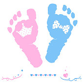 Twin baby girl and boy foot prints arrival greeting card with crown and tie bow