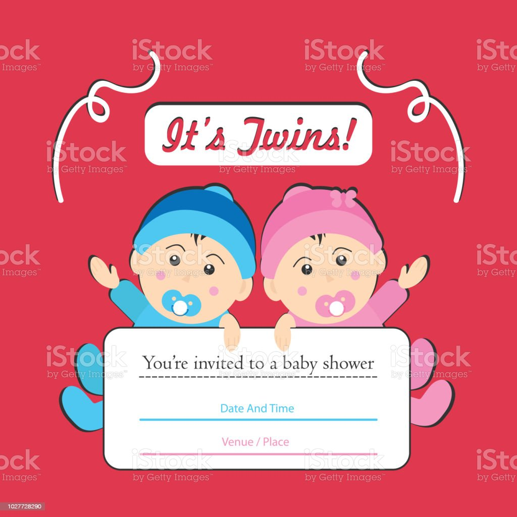 Twin Baby Showers Boy And Girl Card Invitation Stock Vector Art ...