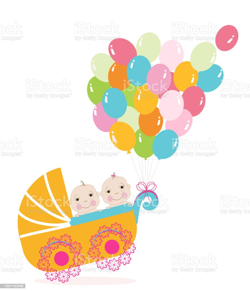 Twin Baby Stroller With Balloon Baby Shower Greeting Card Stock