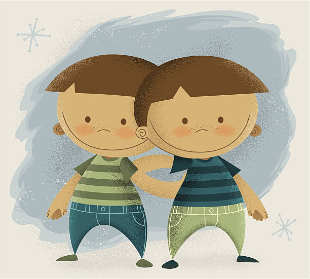 Twin Boys vector art illustration