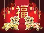 ツイン中国のライオン