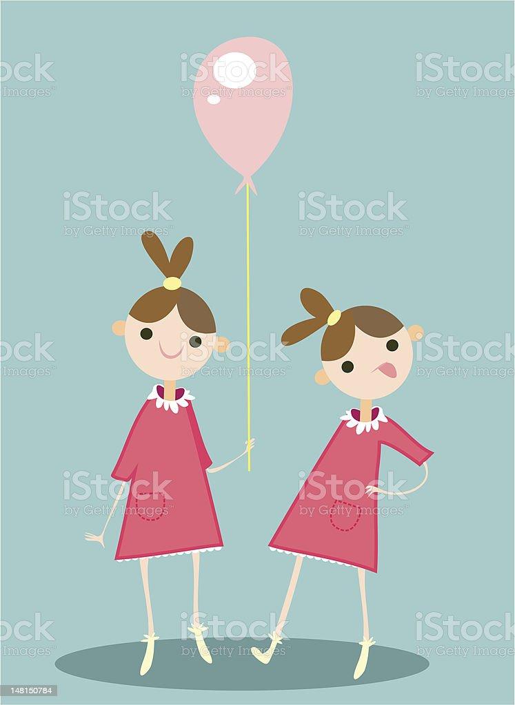 twin girls vector art illustration