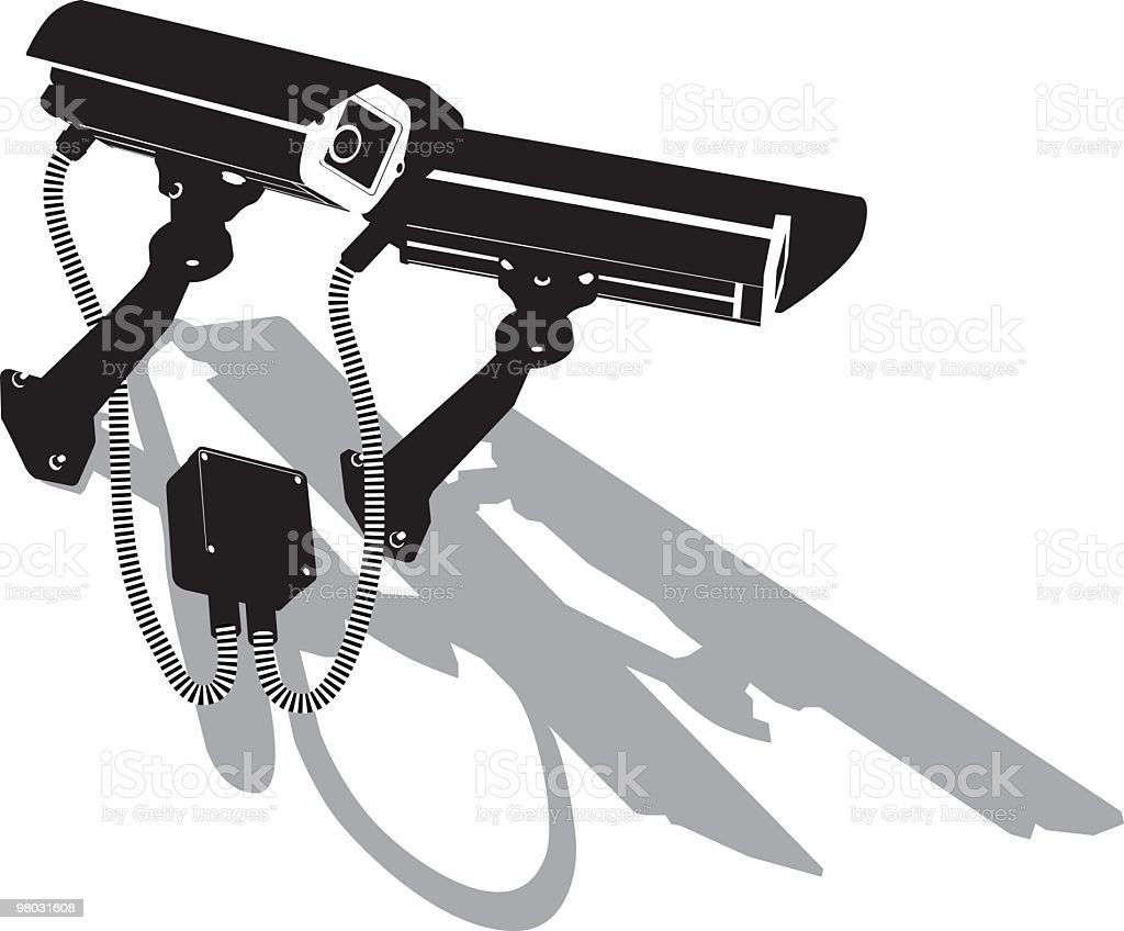 twin outdoor security camera, cctv royalty-free twin outdoor security camera cctv stock vector art & more images of black color