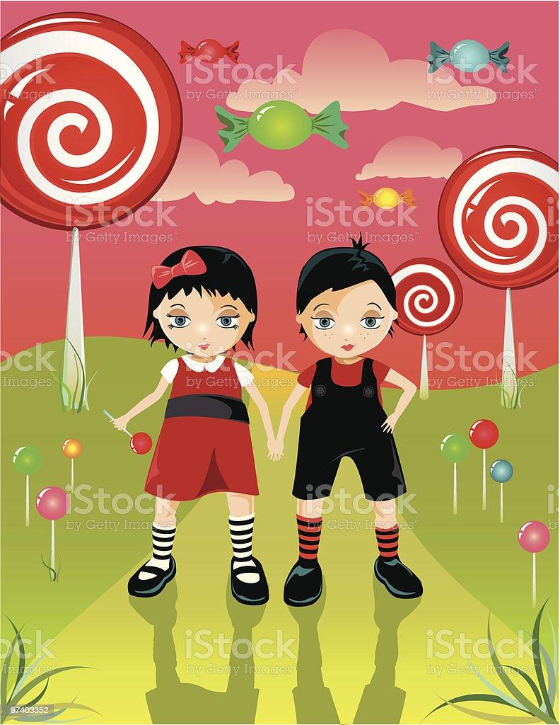 Twin Sisters Holding Hände in Candy Land mit riesigen Lutscher – Vektorgrafik