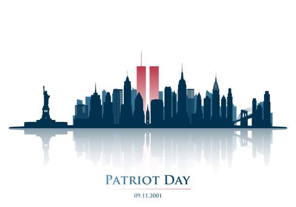 stockillustraties, clipart, cartoons en iconen met twin towers in new york city skyline. world trade center. 11 september 2001 nationale dag van remembrance. patriot dag verjaardag banner. vectorillustratie. - new world