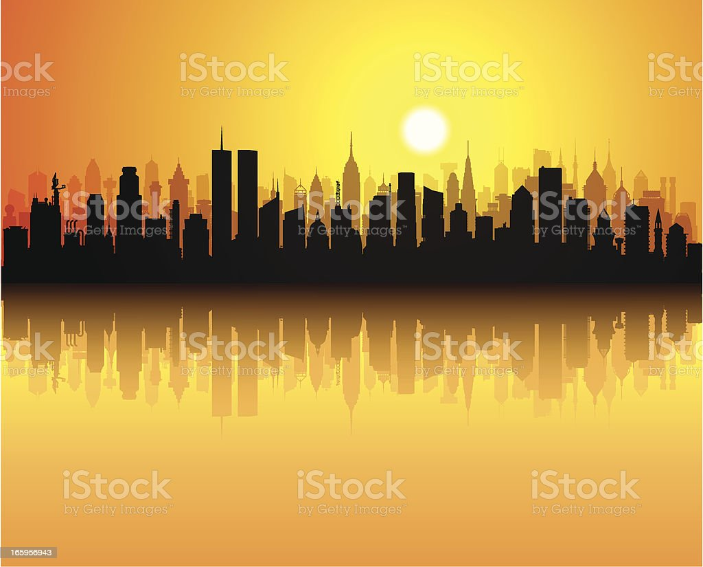 Twin Towers (Each Building is Complete and Moveable) royalty-free stock vector art
